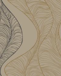 Hoopla Wallpaper Gold Black Beiges Blacks Metallics by