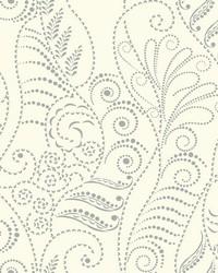 Modern Fern Wallpaper Silver on White White Off Whites Metallics by