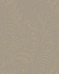 Modern Fern Wallpaper Antique Gold on Taupe Blacks Metallics by