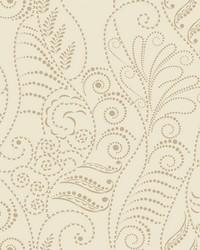 Modern Fern Wallpaper Antique Gold on Cream Beiges Metallics by