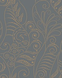 Modern Fern Wallpaper Gold on Charcoal Blacks Metallics by