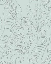 Modern Fern Wallpaper Silver on Blue Spa Greens Metallics by