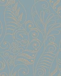 Modern Fern Wallpaper Gold on Denim Blues Metallics by