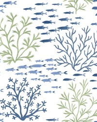Marine Garden Wallpaper Green Blue by