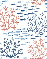 Marine Garden Wallpaper Coral Navy by