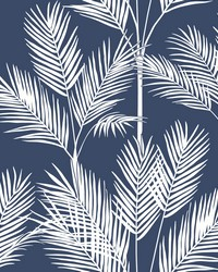 King Palm Silhouette Wallpaper Navy by