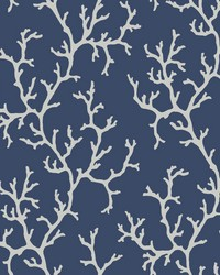 Coral Island Wallpaper Navy by