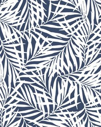 Oahu Fronds Wallpaper Navy White by