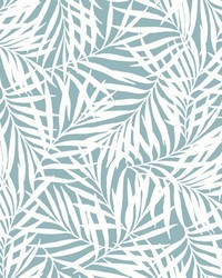 Oahu Fronds Wallpaper Light Blue White by