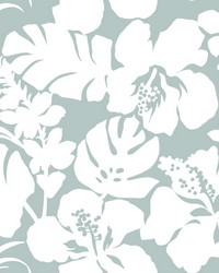 Hibiscus Arboretum Wallpaper Light Gray by