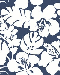 Hibiscus Arboretum Wallpaper Navy by