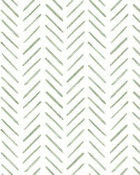 Painted Herringbone Wallpaper Green by