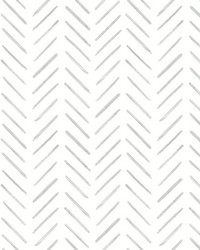Painted Herringbone Wallpaper Gray by