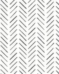 Painted Herringbone Wallpaper Black by