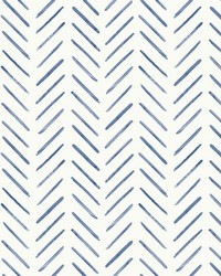 Painted Herringbone Wallpaper Navy by