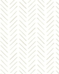 Painted Herringbone Wallpaper Off White by