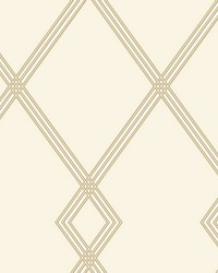 Ribbon Stripe Trellis Wallpaper Cream Gold by