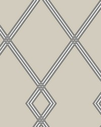 Ribbon Stripe Trellis Wallpaper Taupe by