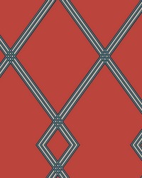Ribbon Stripe Trellis Wallpaper Red Indigo by
