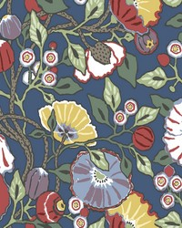 Vincent Poppies Wallpaper Navy by