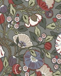 Vincent Poppies Wallpaper Charcoal by