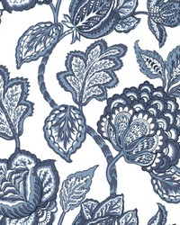 Midsummer Jacobean Wallpaper White Blue by
