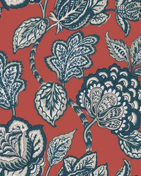 Midsummer Jacobean Wallpaper Red Blue by