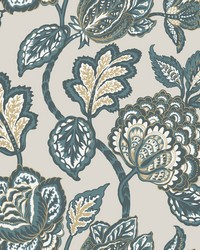 Midsummer Jacobean Wallpaper Taupe Turq by