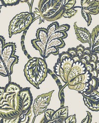 Midsummer Jacobean Wallpaper Lime Navy by