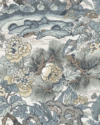 Dynasty Floral Branch Wallpaper Blue   Gray by