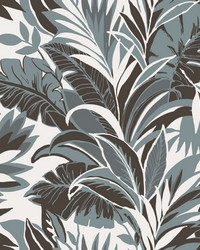 Palm Silhouette Wallpaper Turq Charcoal by