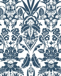 Botanical Damask Wallpaper Indigo by