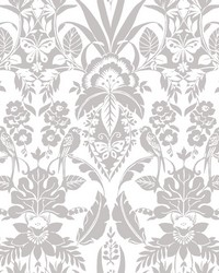 Botanical Damask Wallpaper Grey by