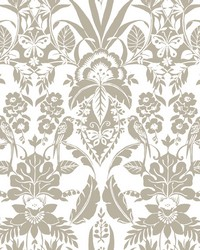 Botanical Damask Wallpaper Taupe by