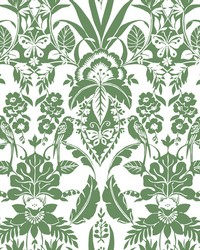 Botanical Damask Wallpaper Green by