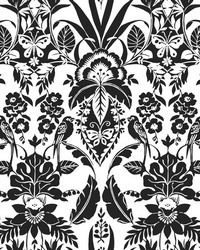 Botanical Damask Wallpaper Black by