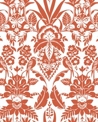 Botanical Damask Wallpaper Orange by