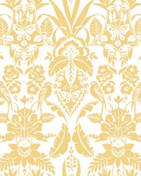 Botanical Damask Wallpaper Yellow by