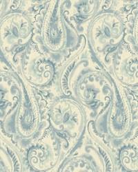 Lyrical Wallpaper white  medium blue  teal  aquamarine by