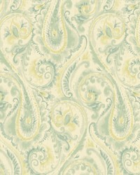 Lyrical Wallpaper beige  teal  aquamarine  grennish yellow by