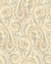 Lyrical Wallpaper pale pearlescent gold  tan  taupe  grey blue by