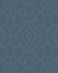 Allure Wallpaper medium blue  taupe by