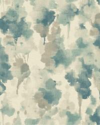 Mirage Wallpaper off white  dark blue  aquamarine  light taupe by