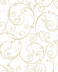 Disney Princess Perfect Scroll Wallpaper Gold Glitter by
