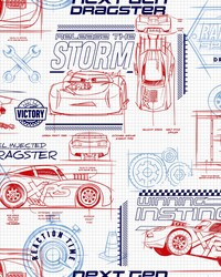 Disney and Pixar Cars Schematic Wallpaper Red by