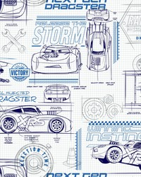 Disney and Pixar Cars Schematic Wallpaper Blue by