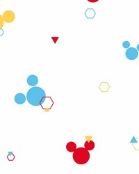 Disney Minnie Mouse Dots Wallpaper Red Blue Yellow by