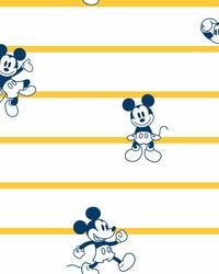 Disney Mickey Mouse Stripe Wallpaper Yellow by