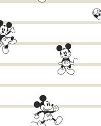 Disney Mickey Mouse Stripe Wallpaper Black White Cream by