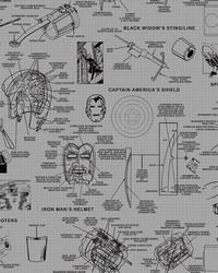Marvels Heroes Schematics Wallpaper Gray Black by